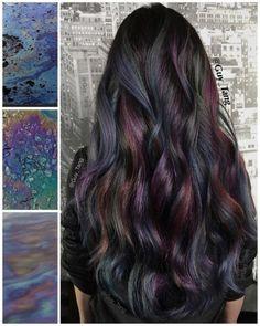 by Maegan Porto  Oil Slick Hair Trend FINALLY! A rainbow hair technique…