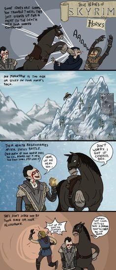 Skyrim: My Buddy the Horse by sparkyHERO