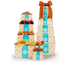 Sophisticated Flavors Gift Tower   13724 from Print EZ Six stacked gift boxes that make this gift tower contain one delicacy after another as you open