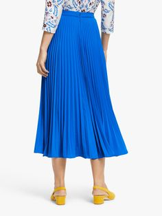 Buy Boden Kristen Pleated Skirt, Bold Blue from our Women's Skirts range at John Lewis & Partners. Blue Pleated Skirt, Midi Skirt, Warm Weather Outfits, Blue Christmas, Capsule Wardrobe, Elegant, Lady, Blouse, Heeled Mules