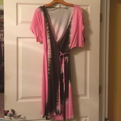 Diane Von Furstenberg tie dye wrap dress pelego Gorgeous Diane von Furstenberg tie-dye wrap dress. Pink and brown. Worn twice in great condition. Diane von Furstenberg Dresses