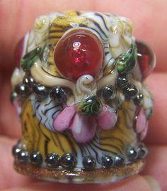 Handmade Lampwork Glass Thimble  -Elegant Pink Eyed Tiger-