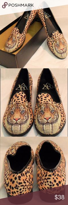 Y-R-U Leopard Print Women's Shoes loafers cheetah Y-R-U Leopard Print Women's Shoes  With Tiger Face.  Size 7. Excellent Condition loafer flats YRU Shoes Flats & Loafers