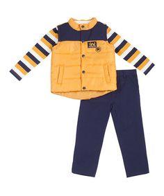 Look at this #zulilyfind! Yellow Puffer Vest Set - Infant #zulilyfinds