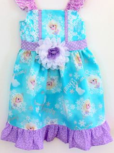 Frozen dress Elsa dress  disney dress rapunzel by LemonDoozyLane