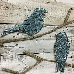 AmazonSmile: Teal Birds on a Branch, String Art Birds, Reclaimed Wood Art, Birds on Wood Pallet: Handmade