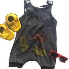 """Mickey Mouse Harem Romper Upcycled from mens tee baby toddler gender neutral disney outfit by ModiTots on Etsy <a href=""""https://www.etsy.com/listing/232363826/mickey-mouse-harem-romper-upcycled-from"""" rel=""""nofollow"""" target=""""_blank"""">www.etsy.com/...</a>"""