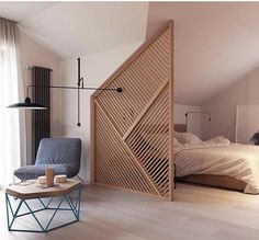 Ideas about Home Design for And the most liked photo of 2016 was this beautiful timber partition in a residential project designed by Zrobym Architects TLP Design head to the link in our bio to be the first to experience our website when it goes live! Apartment Bedroom Decor, Home Bedroom, Cozy Apartment, Bedroom Ideas, Room Divider Ideas Bedroom, Wood Room Divider, Bedroom Inspiration, Bedroom Wall, Apartment Living