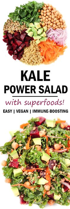 10-ingredient Healthy Kale Superfood Power Salad with immune boosting ingredients! Detoxifying and packed with abundant nourishment to keep you pleasantly filled yet energized. Great for packed lunches too! (vegan, gluten-free, oil-free)