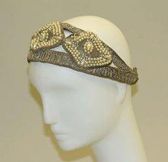 Headdress, 1920s. American or European. Silver, cotton, glass, and synthetic. The Metropolitan Museum of Art, New York. Isabel Shults Fund, 1981 (1981.328.1). #1920s #gatsby