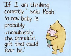 quotes baby quote classic Winnie the Pooh baby nursery art, grandest gift quote for a mom to be Winnie The Pooh Nursery, Baby Nursery Art, Pooh Winnie, Baby Shower Themes, Baby Boy Shower, Baby Shower Quotes, New Baby Girl Quotes, Erwarten Baby, Fun Baby