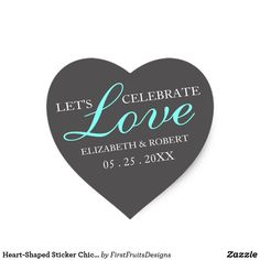 Heart-Shaped Sticker Chic Style Weddings Gray Teal Your wedding day will be picture-perfect, and what better way to celebrate than with this sweet heart-shaped sicker. Warm words and a cute style will let your friends and family know how much you would value their support on your big day as you celebrate love. This heart-shaped design features a gray background and elegant white and bright teal scripts. High-contrast and chic text creates a timelessly elegant style. Customize all colors…