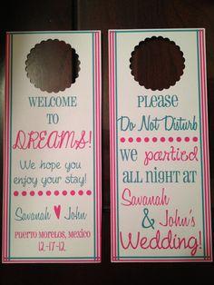 destination wedding, out of town bags, OOT bags, wedding door hanger