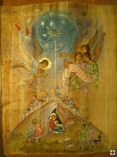 This caught my eye because it's a more detailed nativity scene that the traditional - Mary, Joseph and baby Jesus. Religious Images, Religious Icons, Religious Art, Byzantine Icons, Byzantine Art, Russian Icons, Religious Paintings, Catholic Art, Art Icon