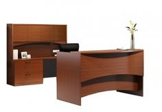 """Desks feature durable 1"""" thick surfaces and distinctive arched modesty panels create a unique look that sets it apart from the competition.  Desks, credenzas and bridges are universal left or right handed for easy reconfiguration.  Desks and credenzas support optional Box-File Suspended pedestals or Mobile full height Box-Box-File and File-File pedestals."""