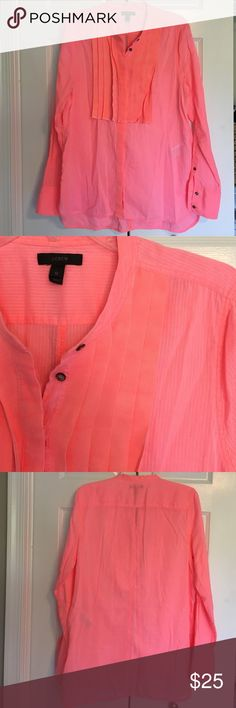 J.Crew bright pink button down with pleating Such cute detail down the center! Can be tunic length. EUC. 100% cotton. 31 inches long. J. Crew Tops Button Down Shirts