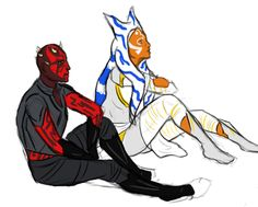 "srahwars: "" i still really like the idea of maul and ahsoka becoming the new son and daughter for whatever reason. here they are chilling in the void i guess??"