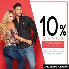 Aprovecha y con #PetrolizadoJeans. Por compras al detal, recibe el 10% de descuento, para que siempre lleves contigo lo mejor en #Moda #Diseño y #Estilo