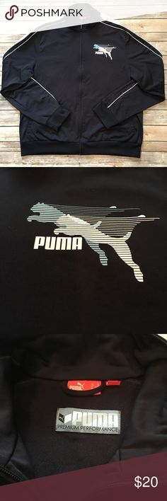 Puma - Full Zip, High Collar Track Jacket (XL) Puma - Full Zip, Dark Navy and White, High Collar Track Jacket (size XL). In exceptional preowned condition. Please be sure to check out all of my other men's items to bundle and save. Same day or next business day shipping is guaranteed. Reasonable offers will be considered. Puma Jackets & Coats Performance Jackets