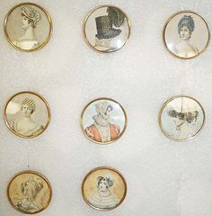 Glass buttons, French, ca. 1790.