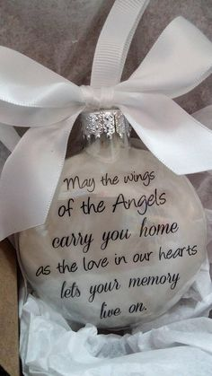 This beautiful glass ornament is a wonderful way to remember those who have passed. The ornament is approx. 3.5 inches in dimension and just over 1 inch thick. The inside is filled with soft white feathers and the words May the Wings of the Angels Carry You Home, as the Love in Our