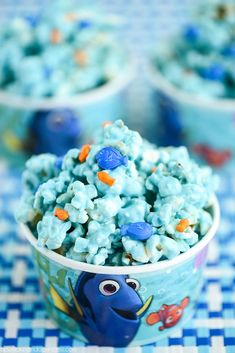 Finding Dory Popcorn Birthday Party Snacks, 1st Boy Birthday, Birthday Ideas, Mermaid Birthday, Chocolate Covered Popcorn, Cupcakes, Finding Nemo, Party Ideas, Owl Crafts