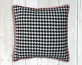houndstooth pillow, Modern cushion cover, black and white pillow 16x16 inches handmade modern home Decor and housewares