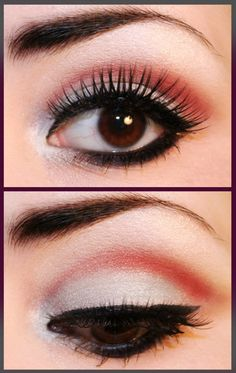 Great crease color...this look could make any bold color wearable!