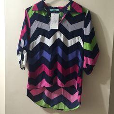 Boutique long sleeve top Boutique long sleeve top. Chevron print tabbed sleeve. NWT, never worn Karlie Tops Tees - Long Sleeve