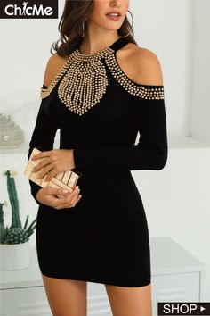 Studded Cold Shoulder Bodycon Dress We Miss Moda is a leading Women's Clothing Store. Offering the newest Fashion and Trending Styles. Formal Dresses For Teens, Modest Dresses, Trendy Dresses, Elegant Dresses, Sexy Dresses, Casual Dresses, Short Dresses, Fashion Dresses, Dress Formal