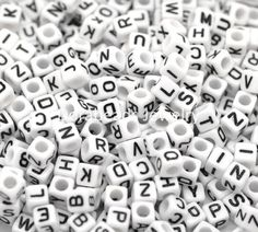"DoreenBeads Mixed White Alphabet/ Letter Acrylic Cube Beads 6x6mm(1/4""x1/4""), 500Pcs (B18077) #Affiliate"