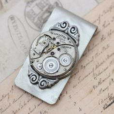 The perfect Last Minute Gift for Father's Day!  Money Clip Steampunk Dad Father Gift Scroll by inspiredbyelizabeth, $52.00
