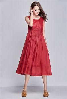 2015 Red Linen Dress / Long Linen Dress in Red / by camelliatune