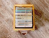 Rustic Wooden Library Style Card Box for Daily Journal Cards - 2015 Perpetual Desk Calendar CUSTOM