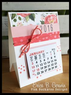Desktop calendar (see versions with other colors and themes too) ~ by Erica Cerwin, Pink Buckaroo Designs Desktop Calendar, Desk Calendars, Easel Cards, Craft Show Ideas, Planner, Stamping Up, Craft Fairs, Craft Gifts, Cardmaking