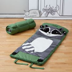 Between the pillow fights, snacking and giggling, sleepovers can get pretty wild.  Luckily we have a raccoon kids' sleeping bag that is just as wild.  It features easy-to-match color schemes and a charming animal face you can use as a pillow.  Personalize it with a name for a special touch.