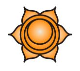 """Svadhishthana (Sanskrit: स्वाधिष्ठान, IAST: Svādhiṣṭhāna, English: """"one's own base"""") or sacral chakra is symbolized by a white lotus within which is a crescent moon, with six vermilion, or orange petals. The seed mantra is Vam, and the presiding deity is Brahma, with the Shakti being Rakini (or Chakini). The animal associated is the crocodile of Varuna."""