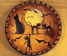 Halloween Art  Primitive Wood Bowl  Black Cat and by Ravensbend, $24.00