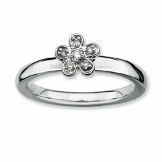 0.041ct Romantic Silver Stackable Flower Diamond Ring. Sizes 5-10 Available Jewelry Pot. $51.99. Your item will be shipped the same or next weekday!. All Genuine Diamonds, Gemstones, Materials, and Precious Metals. 100% Satisfaction Guarantee. Questions? Call 866-923-4446. 30 Day Money Back Guarantee. Fabulous Promotions and Discounts!. Save 59% Off!