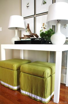 DIY - finishing sheap pleather storage ottomans w/ easy reupholstery (they cost about $ 20 at Walmart)plus fabric & staple gun