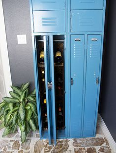 Gym Locker Turned Wine Storage! - Who else loves vintage gym lockers? I love the use of these retro pieces in home decor, but the question becomes - what do you…