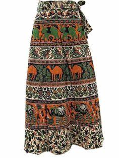 Wrap Skirt Brown Green Ethnic Jaipuri Print Long Wrap Skirt for Women Mogul Interior,http://www.amazon.com/dp/B00I3VX69A/ref=cm_sw_r_pi_dp_79bltb1XF5S3GK4B