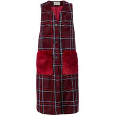 Ki6 checked fur pocket waistcoat ($285) ❤ liked on Polyvore featuring outerwear, vests, red, fur waistcoat, red checkered vest, checked vest, red fur vest and checkered vest