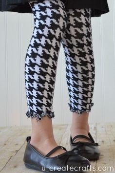 Tights too small? Turn them into cute leggings with this tutorial!
