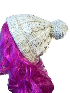 Cable Hat Ski Bobble Beanie Slouch Retro by thekittensmittensuk