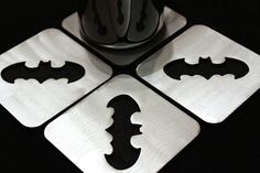 Batman Coasters Set of 4 Steel Dark Knight by ApocalypseFab, $35.00.. I Oughtta just start a collection of coasters