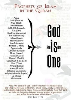 Our Prophets all called to the same message from Adam alahe alsalamto Mohammed salAllah alahee o salim..... Allah is One