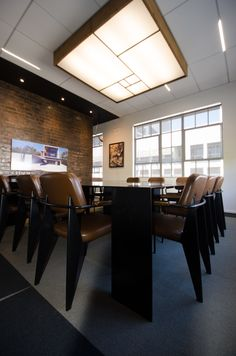Boardroom - Custom table and light designed by Bomax Innovation Design, Offices, Lighting Design, Conference Room, Architecture, Interior, Table, Furniture, Home Decor