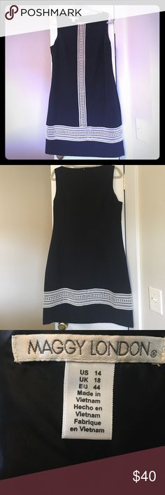 Maggy London Black with White Dress Beautiful Black Dress with White Crocheted Designs, 97% Polyester, 4% Spandex Maggy London Dresses Midi
