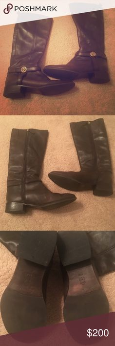 Tory burch boots Brown leather. Great condition. The calf is too small for me. The actual foot portion doesn't run small though. No trades. Tory Burch Shoes Winter & Rain Boots